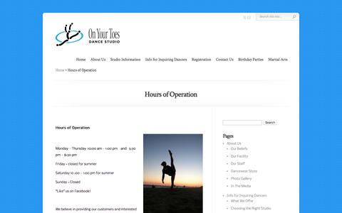 Screenshot of Hours Page danceonyourtoes.com - Hours of Operation   On Your Toes Dance: Jazz, Tap, Ballet, Hip Hop - captured June 21, 2016
