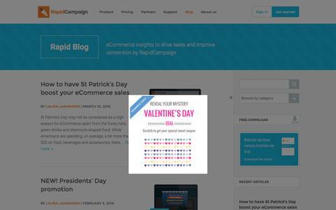 Screenshot of Blog Press Page rapidcampaign.com captured March 18, 2016