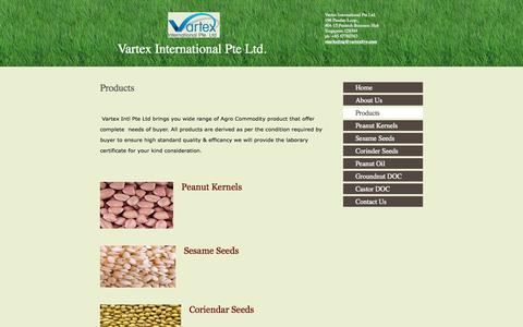 Screenshot of Products Page vartexlive.com - Vartex International Pte Ltd. - Products - captured Oct. 7, 2014