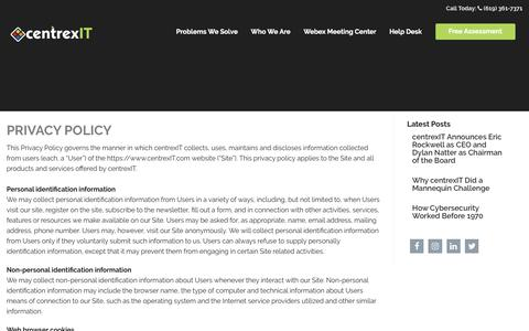 Screenshot of Privacy Page centrexit.com - Privacy Policy | centrexIT - captured Sept. 27, 2017
