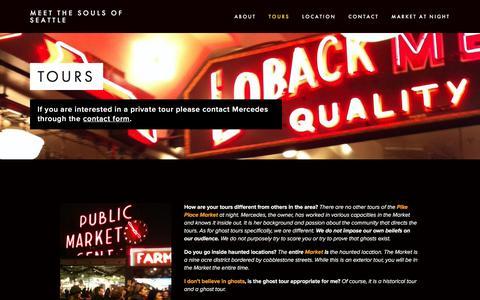 Screenshot of Menu Page seattleghost.com - TOURS — MEET THE SOULS OF SEATTLE - captured Oct. 31, 2016