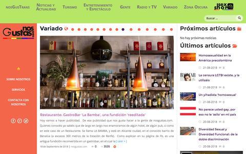 Screenshot of Home Page nosgustas.com - Bienvenid@s a NosGustas - captured Sept. 22, 2018