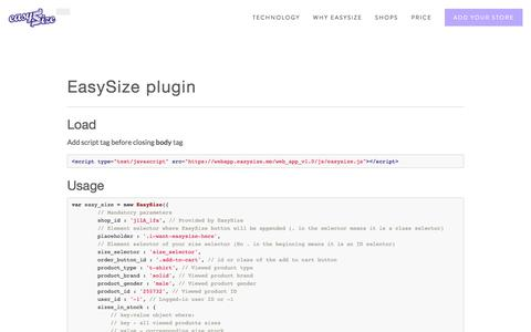 Screenshot of Developers Page easysize.me - Developers Ń EasySize | We Know Your Size - captured Dec. 16, 2015