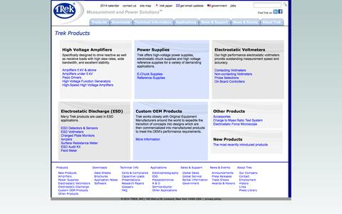 Screenshot of Products Page trekinc.com - Trek Products - High Voltage Amplifiers, Electrostatic Voltmeters, ESD and Custom Solutions - captured Oct. 7, 2014