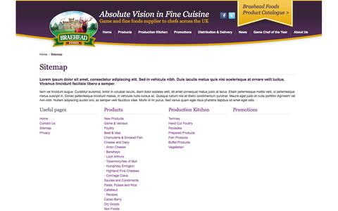 Screenshot of Site Map Page braeheadfoods.co.uk - Braehead Foods | Fine Food Distributor & Wild Game Supplier - captured Oct. 5, 2014