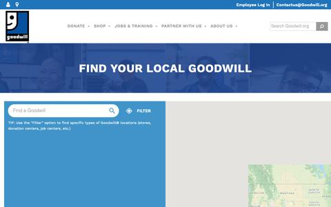 Screenshot of Locations Page goodwill.org - Find Your Local Goodwill - Goodwill Industries International - captured June 13, 2019