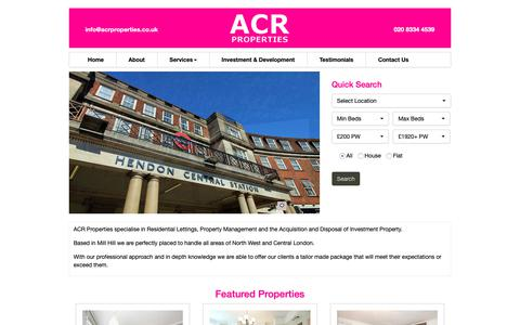 Screenshot of Home Page acrproperties.co.uk - Letting Agents & Property Management in Hendon | Finchley | Mill Hill - captured Oct. 2, 2018