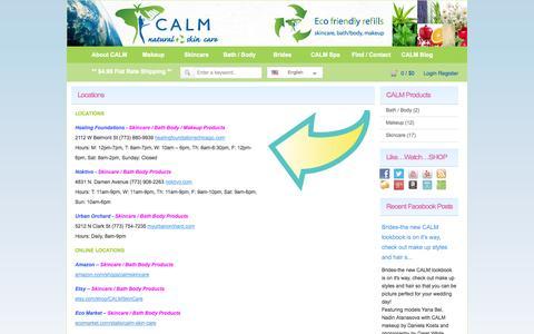 Screenshot of Locations Page calmskincare.com - Locations «  CALM Natural Eco friendly Skin Care – Makeup Bath Body Skincare Green Products Refills - captured Sept. 27, 2014