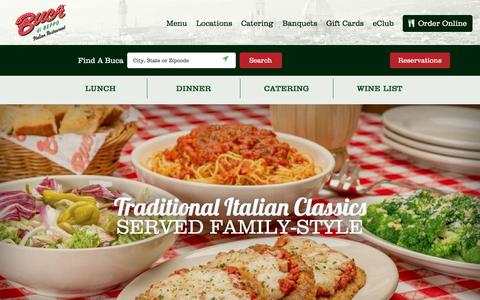 Screenshot of Menu Page bucadibeppo.com - Menu | Lunch, Dinner and Party Pans | Buca di Beppo Italian Restaurant - captured Aug. 4, 2018