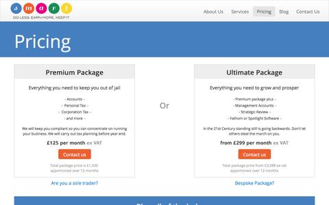 Screenshot of Pricing Page smartaccountancysystems.co.uk - Fixed Fee Accountants and Online Accountancy - captured Oct. 9, 2014