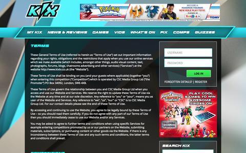 Screenshot of Terms Page kixtv.co.uk - Kix - captured Oct. 31, 2014