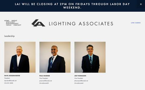 Screenshot of About Page Team Page laiweb.net - Team — LIGHTING ASSOCIATES, INC. - captured Aug. 5, 2017