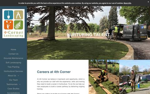 Screenshot of Jobs Page 4thcorner.co.uk - Careers in Landscaping and Grounds Maintenance, Oxfordshire - captured Oct. 20, 2018