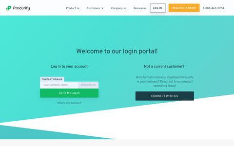 Screenshot of Login Page procurify.com - Login Procurify - Beautifully Designed Spend Management - captured April 24, 2018
