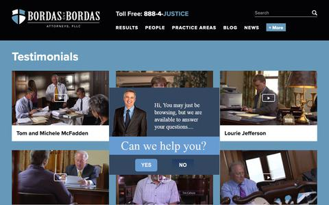 Screenshot of Testimonials Page bordaslaw.com - Testimonials | Bordas & Bordas - captured Oct. 6, 2018