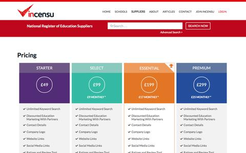 Screenshot of Pricing Page incensu.co.uk - Membership Packages available to companies supplying schools - captured Sept. 20, 2018