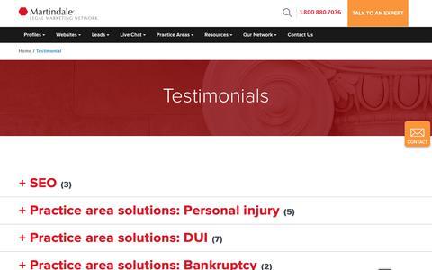 Screenshot of Testimonials Page martindale.com - Martindale Hubbell | SEO - captured Nov. 20, 2017