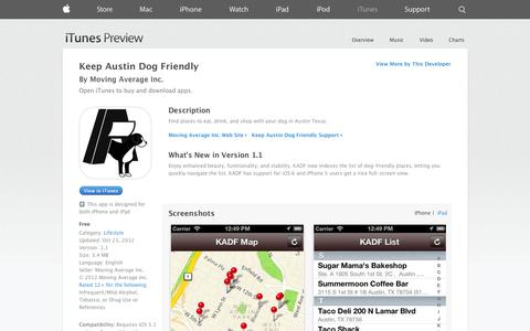 Screenshot of iOS App Page apple.com - Keep Austin Dog Friendly on the App Store on iTunes - captured Oct. 31, 2014