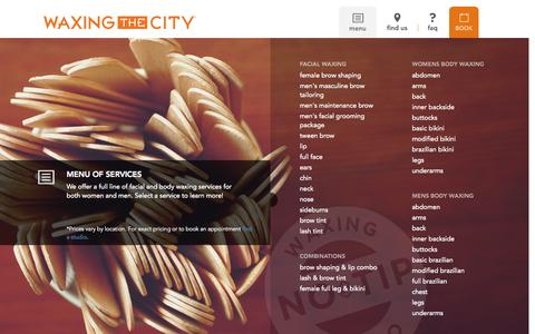 Screenshot of Menu Page waxingthecity.com - Menu | Waxing the City - captured Oct. 29, 2014