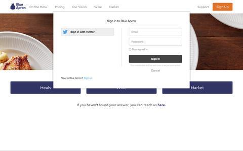 Screenshot of Support Page blueapron.com - Blue Apron - captured April 28, 2017