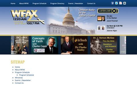 Screenshot of Site Map Page wfax.com - Christian Radio   Washington, DC – WFAX 1220AM   100.7FM Worldwide   Sitemap   WFAX - captured Oct. 18, 2018