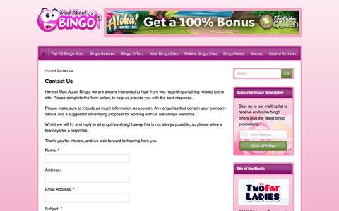 Screenshot of Contact Page madaboutbingo.com - Contact Us | Contact Information | Madaboutbingo.com - captured May 27, 2017