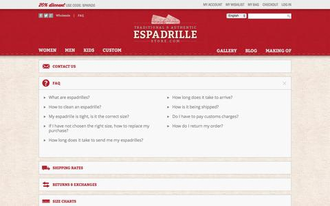 Screenshot of FAQ Page espadrillestore.com - Contact Us - captured Jan. 20, 2016