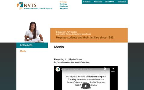 Screenshot of Press Page nvtutoring.com - Media - Dr. Perrino's BlogDr. Perrino's Blog - captured Oct. 20, 2018