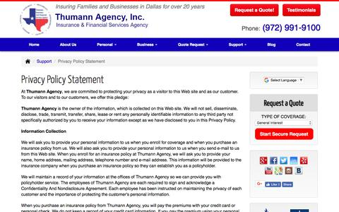 Screenshot of Privacy Page thumannagency.com - Thumann Agency - Privacy Policy Statement - captured Oct. 9, 2017