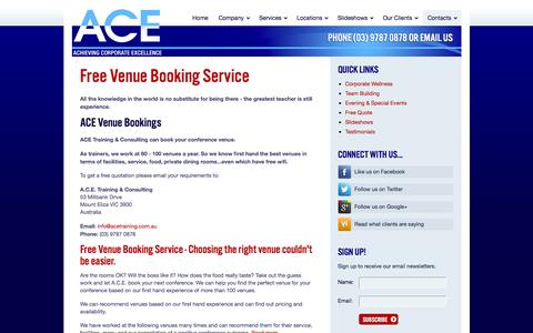 Screenshot of Contact Page acetraining.com.au - Free Conference Venue Booking Service | A.C.E. - captured Nov. 16, 2016