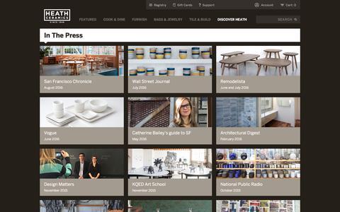 Screenshot of Press Page heathceramics.com - Press - Heath Ceramics - captured July 17, 2018