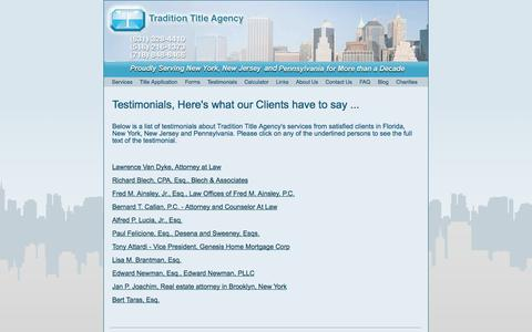Screenshot of Testimonials Page traditionta.com - Tradition Title Agency Testimonials by Clients - captured Oct. 6, 2014