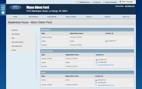 Screenshot of Hours Page odomford.com - Dealership Hours at Wynn Odom Ford - Your La Grange, North Carolina Ford dealer - captured Oct. 9, 2014