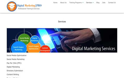 Screenshot of Services Page digitalmarketingpro.co.in - Services | Digital Marketing Pro - captured March 26, 2019