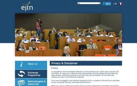 Screenshot of Privacy Page ejtn.eu - Privacy & Disclaimer - EJTN Website - captured July 17, 2015