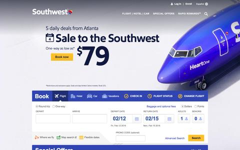 Screenshot of Home Page southwest.com - Southwest Airlines | Book Flights, Airline Tickets, Airfare - captured Feb. 11, 2016