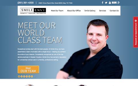 Screenshot of Team Page smile-envy.com - Home   Dr. Brad Barker   Smile Envy   Katy general dentistry   Texas general dentistry   23501 Cinco Ranch Blvd, Suite B228, Katy, TX 77494   (281) 391-4200 - captured Oct. 27, 2014