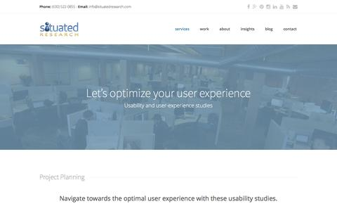Screenshot of Services Page situatedresearch.com - Let's optimize your user experience - Situated Research - captured May 28, 2017