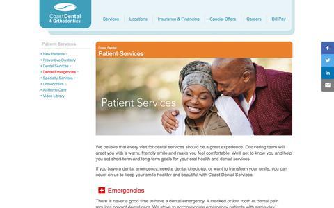 Screenshot of Services Page coastdental.com - Comprehensive Dental Services   Coast Dental Services - captured July 14, 2019