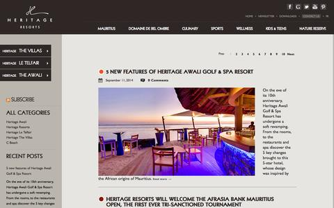 Screenshot of Blog heritageresorts.mu - Heritage Resorts Blog - - captured Sept. 18, 2014