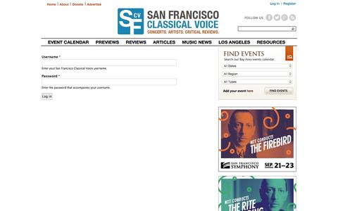 Screenshot of Login Page sfcv.org - User account | San Francisco Classical Voice - captured Sept. 22, 2018