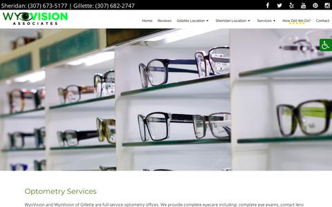 Screenshot of Services Page wyovision.com - Optometry Services in Gillette & Sheridan, WY   WyoVision Associates, Inc - captured Oct. 31, 2018