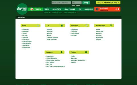 Screenshot of Site Map Page bilyoner.com - Site Haritası | Bilyoner.com - captured June 20, 2017