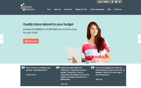 Screenshot of Home Page venustutors.com - Tuition Assignments | Singapore Tuition Agency - captured Oct. 7, 2014