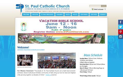 Screenshot of Home Page stpaulchurch.com - St Paul Catholic Church & Preschool:  Welcome! - captured April 28, 2017