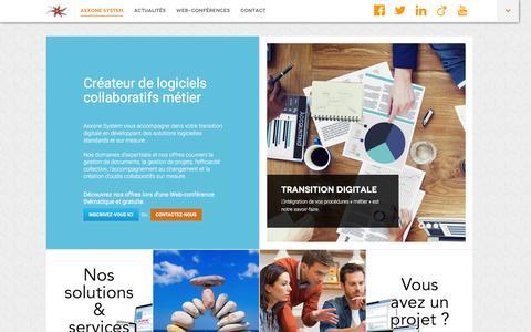 Screenshot of Home Page axxone.fr - Axxone System - Créateur de logiciels collaboratifs métier - captured Jan. 21, 2016