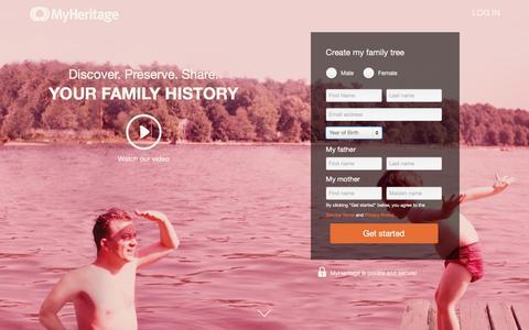 Screenshot of Landing Page myheritage.com - ion marketing experience platform - captured April 18, 2017