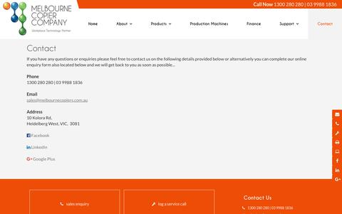Screenshot of Contact Page melbournecopiers.com.au - Melbourne Copier Company VIC | Printing - captured Oct. 21, 2018