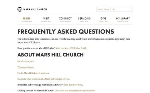 Screenshot of FAQ Page marshill.com - Frequently Asked Questions | Mars Hill Church - captured Oct. 27, 2014
