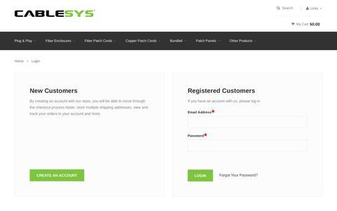 Screenshot of Login Page cablesys.com - Customer Login - captured Dec. 6, 2015